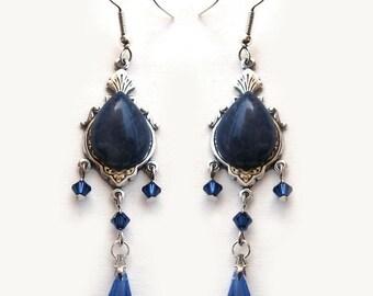 Blue Earrings Victorian Earrings Blue Swarovski Earrings Crystal Dangle earrings Sodalite Gothic Jewelry