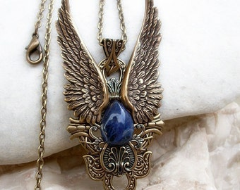 Angel Wings Necklace Mens Womens Steampunk Necklace Blue Sodalite Large Pendant Necklace Brass Pendant Steampunk Jewelry Statement