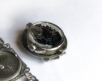Aquamarine bracelet Silver watch bracelet Gothic jewelry blue watch Womens watch Gothic watch bracelet victorian bracelet Victorian