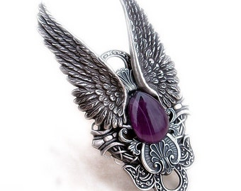 Large Gothic Ring Gothic Jewelry Angel Wings Ring Full Finger Ring Purple Statement Rocker Ring hypoallergenic jewelry