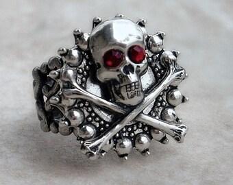 Mens Skull Ring Women unisex Silver Gothic Ring skeleton ring Goth Jewelry Red Crystal skull and bones rings rocker Ring nickel free jewelry