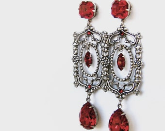 Gothic Earrings Long Red Swarovski Earrings Dramatic Earrings Gothic Jewelry Statement Earrings Long Earrings Red Earrings girlfriend