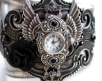 Gothic Watch Gothic Jewelry womens watches gothic bracelet winged jewelry black rose Aranwen