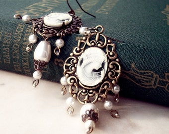 Cameo Earrings Long Chandelier Earrings Pearl Earrings White Brass Gold Dangle Victorian Jewelry gift for her mother wife girlfriend