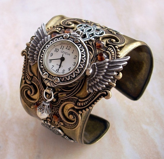 Steampunk Cuff Watch in brass and silver