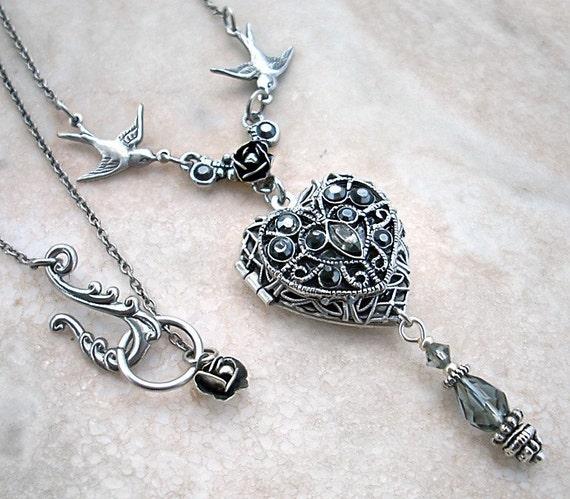 Silver Heart Locket Necklace SALE