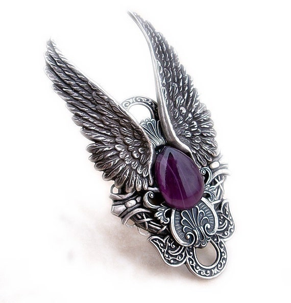 Silver Angel Wings Ring Gothic Ring purple Extra Large Statement Rocker Ring Gothic Jewelry