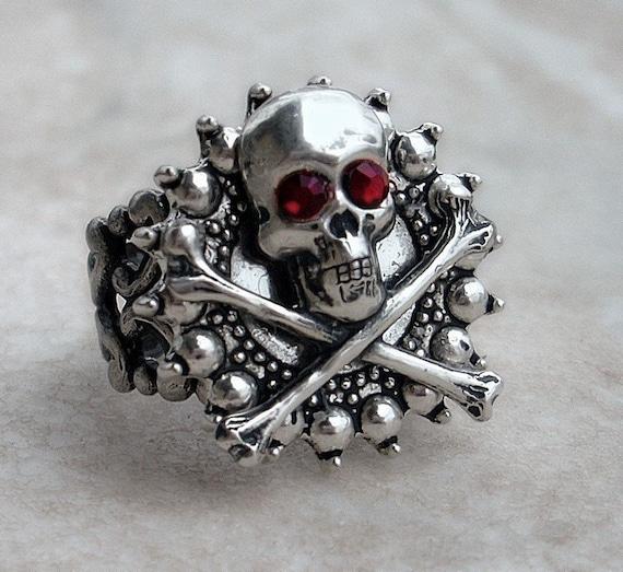 Mens Skull Ring Women unisex Silver Gothic Ring skeleton ring