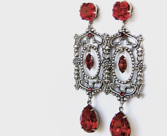 Red Swarovski Earrings Gothic Cathedral Dramatic long Earrings Gothic Jewelry Statement Earrings Long Earrings Red Earrings girlfriend