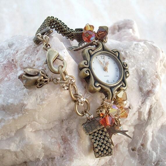 Beaded Wrist watch Swarovski Crystal Orange Topaz Brass Chain Ladies watch
