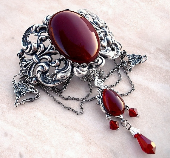 Red Gothic Choker Carnelian Agate Red Choker Necklace Victorian Gothic Jewelry Silver Metal Choker Silver Choker Necklace gift