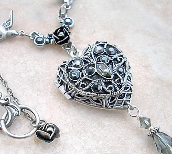 Crystal Heart Locket Necklace Silver Swarovski Rhinestones Victorian Jewelry
