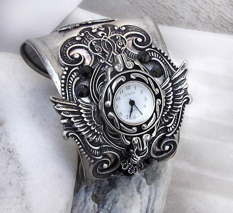 Gothic Watch silver cuff Watch bracelet women watches mens