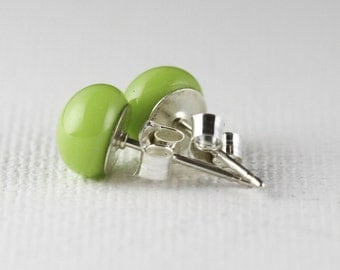 Fused glass earrings. Sterling silver posts. Lime green glass earrings. Green earrings. Glass earrings. Stud earrings. Gifts under 20.