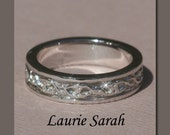 Hand Engraved Man's Wedding Band - Vining Hearts in 14kt Gold - LS1007