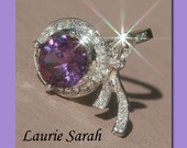 Color Change Russian Lab Alexandrite and Diamond Bow Ring - LS1307