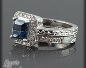 Sapphire Engagement Ring, Montana Blue Sapphire and Diamond Wedding Set with Milgrain and Engraving - LS1819