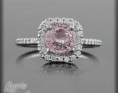 Pink Sapphire and Single Halo Diamond Engagement Ring - LS1942