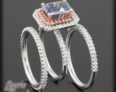 Cornflower Blue Sapphire and Diamond Engagement Ring and Wedding Band Set - LS1960