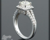 Cushion Cut Engagement Ring, Square Cut Diamond Ring in 14kt Gold - LS753