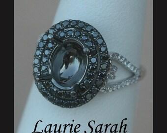 Double Halo Black Diamond Ring Oval Semi-Mount - LS945