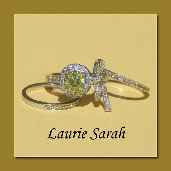 Canary Diamond Bow Engagement Ring with Canary Diamond Wedding Bands - Laurie Sarah Designs Exclusive - LS718