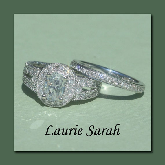 Oval Diamond Engagement Ring with Almost Eternity Wedding Band - LS748
