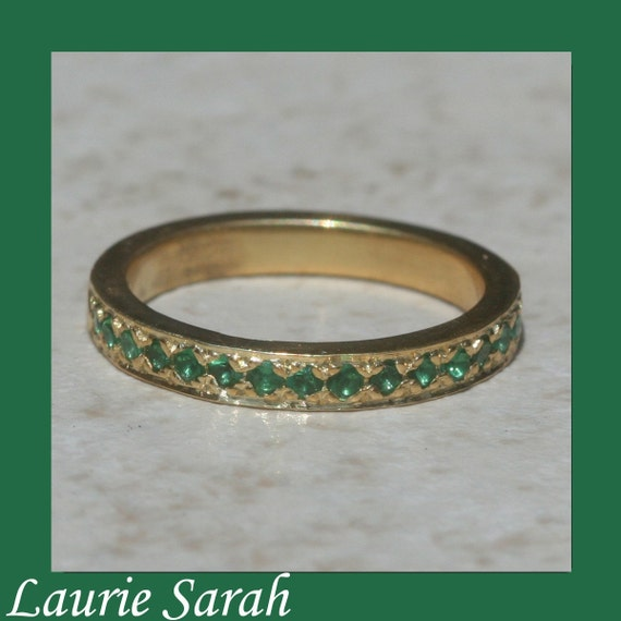14k yellow gold emerald mothers ring by lauriesarahdesigns