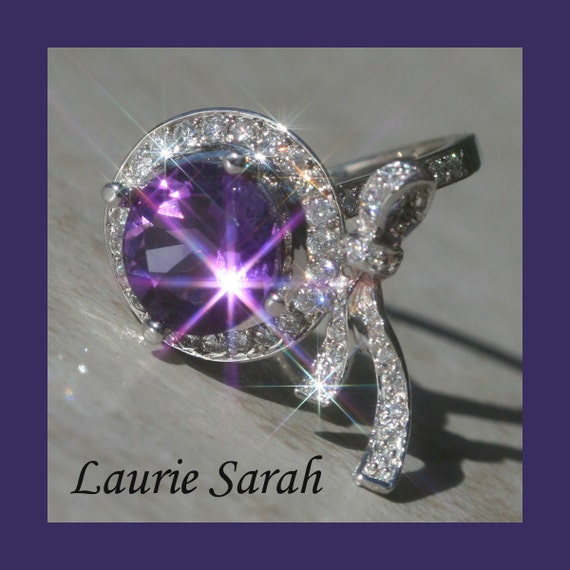 Amethyst Ring, Amethyst and Diamond Designer Bow Ring - Laurie Sarah Designs Signature Design - LS236