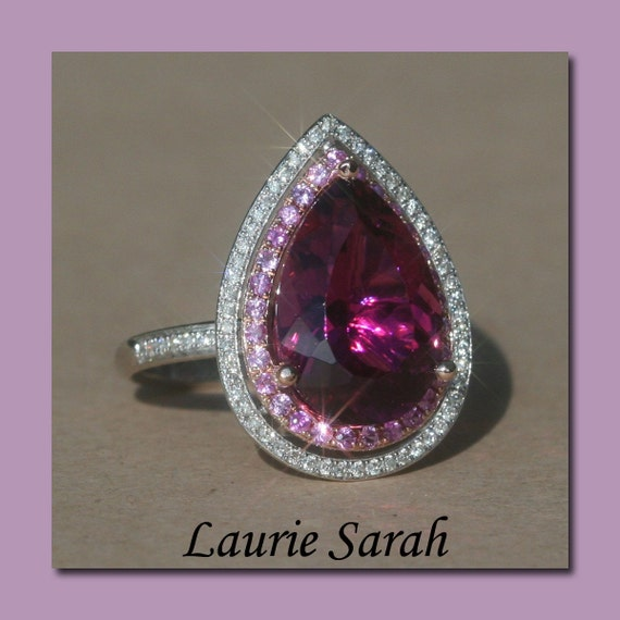 Laurie Sarah Designs 6 carat Rubellite Tourmaline Statement Ring - Pink Sapphire & Diamond Double Halo - LS1342