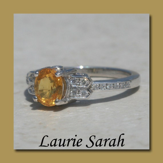 Lemon Yellow Sapphire and Diamond Right Hand or Engagement Ring - LS406
