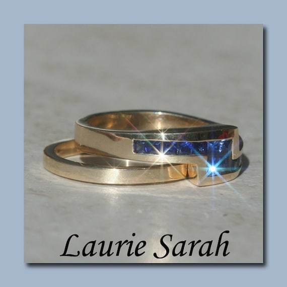 Blue Sapphire Wedding Set, Princess Cut Blue Sapphires in 14kt Yellow Gold - LS1229