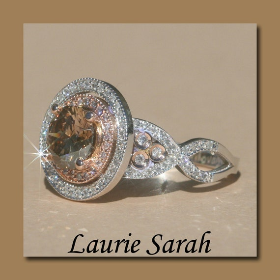 Halo Engagement Ring 1 50 carat Deep Brown Diamond Double