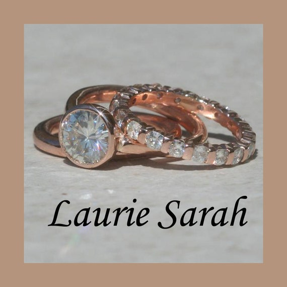 Moissanite Engagement Ring, Moissanite Wedding Set in Rose Gold with one plain wedding band, and one diamond eternity wedding band - LS1213