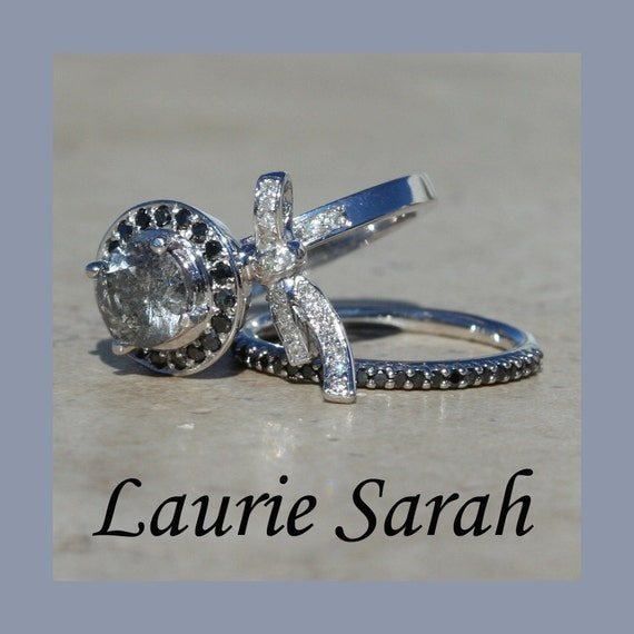 Grey Diamond Engagement Ring and Black by LaurieSarahDesigns