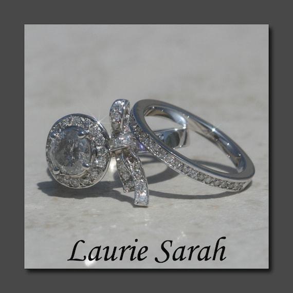 Diamond Engagement Ring Grey Diamond Bow Ring with Diamond