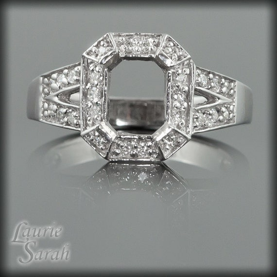 Engagement Ring, Split Shank Octagon Diamond Semi-Mount for an Asscher, Rectangular, Cushion, Radiant, or Princess Cut Gemstone -LS570