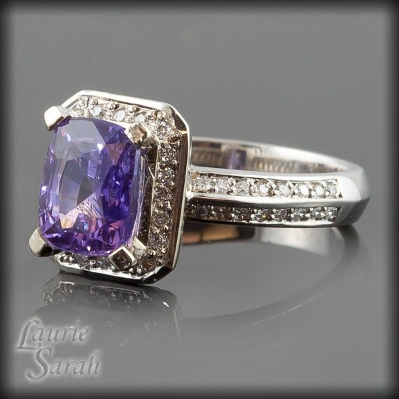 Sapphire Engagement Ring, Purple Sapphire and Diamond Ring with KnifeEdge - LS250