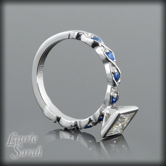Moissanite Engagement Ring, Bezel Set Princess Cut Moissanite Engagement Ring with Blue Sapphires - LS1522