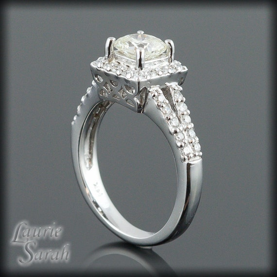 Cushion Cut Engagement Ring Square Cut by LaurieSarahDesigns