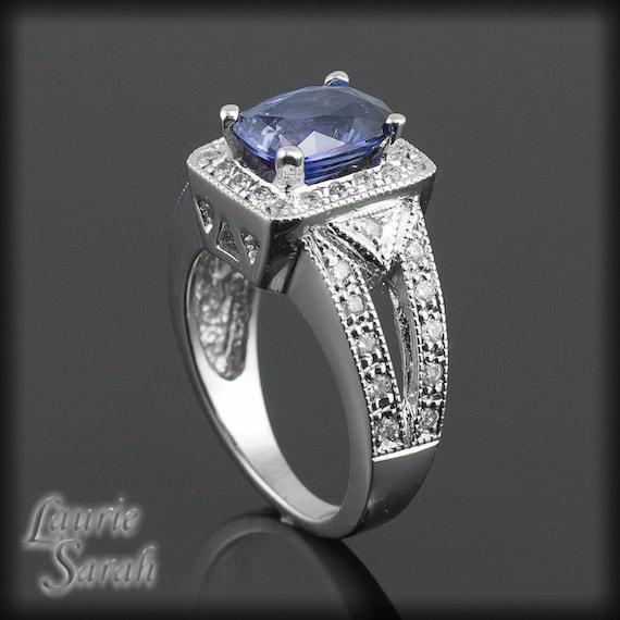 Rectangular Cushion Cut Blue Sapphire and by LaurieSarahDesigns