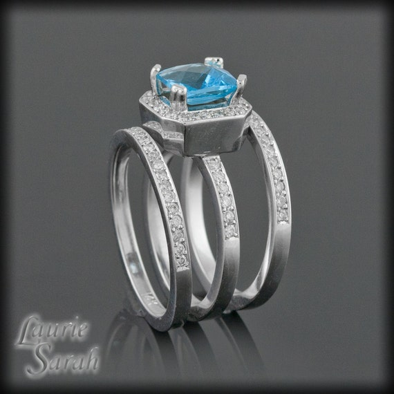 Wedding ring set square cut blue topaz and diamond engagement for Blue topaz wedding ring sets