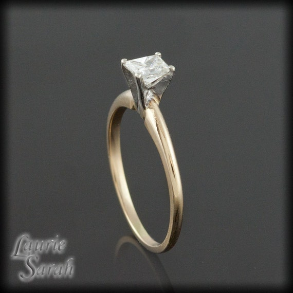 Engagement Ring, Princess Cut Diamond Solitaire Gold Engagement Ring - LS840