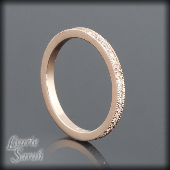 Diamond Wedding Band in 14kt Rose Gold - Almost Full Eternity - LS1901