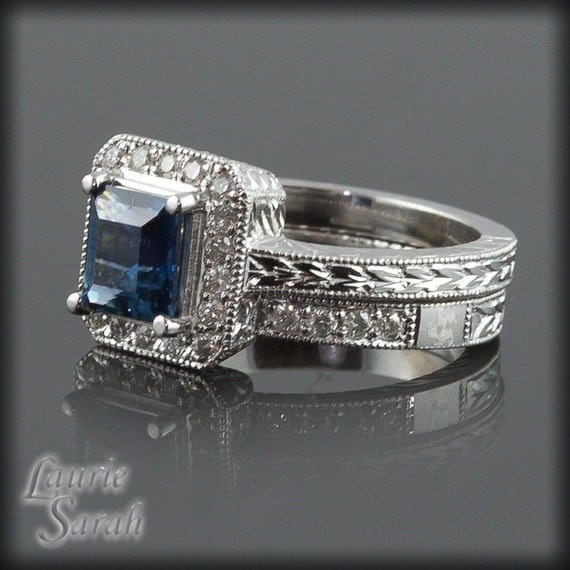 Montana Blue Sapphire and Diamond Wedding Set with Milgrain and Engraving - LS1819