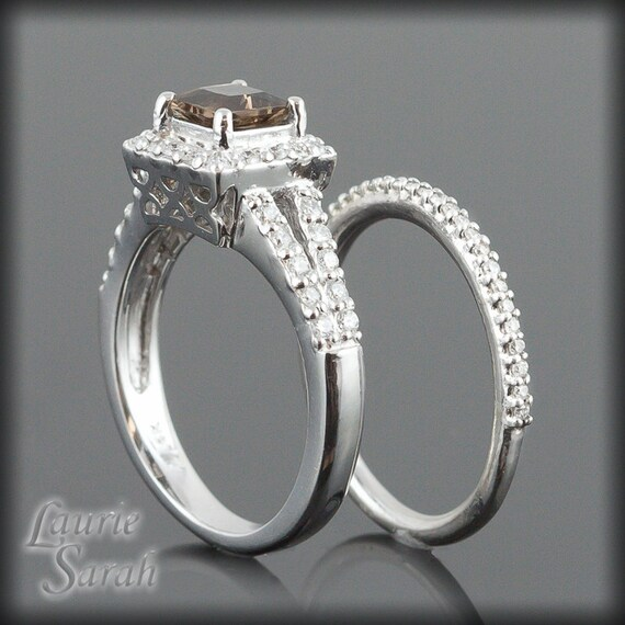 Smoky Quartz and Diamond Split Shank Engagement Ring and Matching Wedding Band in 14kt White Gold - LS1817