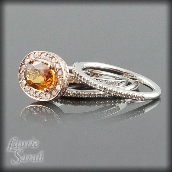Orange Sapphire and Diamond Wedding Set - 14kt Rose and White Gold - LS1800