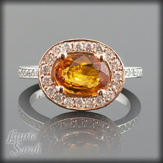 Sapphire Engagement Ring, Fire Orange Sapphire and Diamond Engagement Ring in 14kt White and Rose Gold - 6x9mm Oval Cut - LS1799