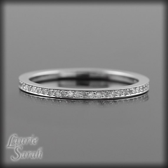 Diamond Wedding Band, Super Thin Knuckle Ring or Wedding Band, Almost Full Eternity - LS1949
