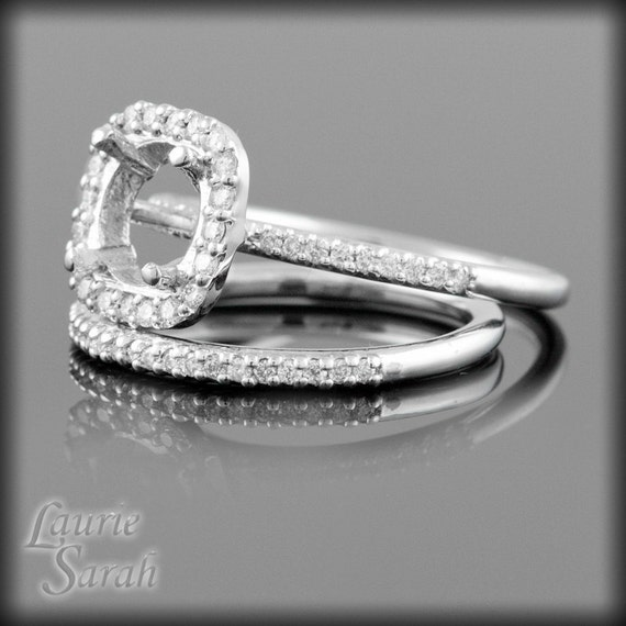 Square Semi Mount Diamond Engagement Ring and Wedding Band Set - LS1994